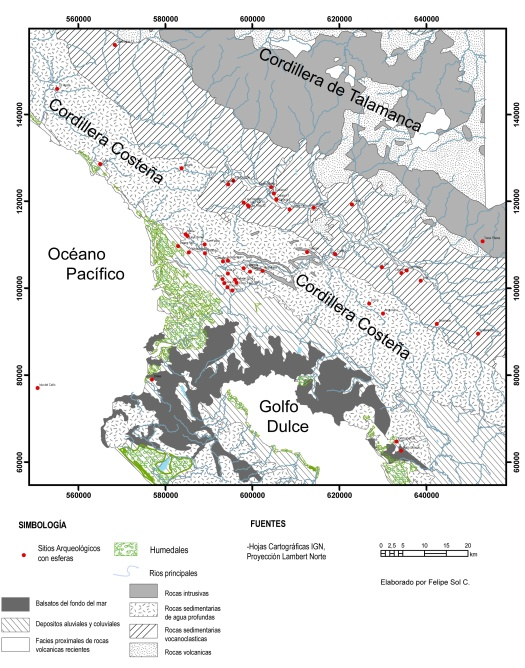 Sitios con esferas sub-región Diquís