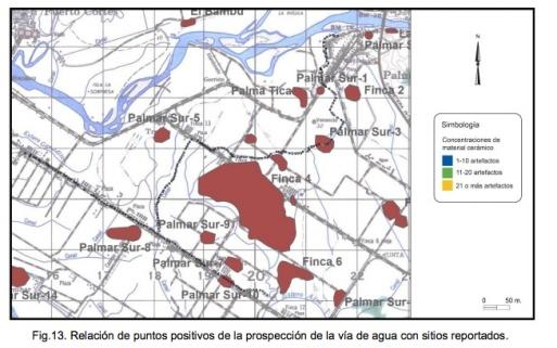 Distribución sitios arqueológicos Delta Sur copia